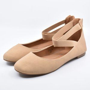 Natural Beige Faux Leather Ankle Strap Zipper Flat